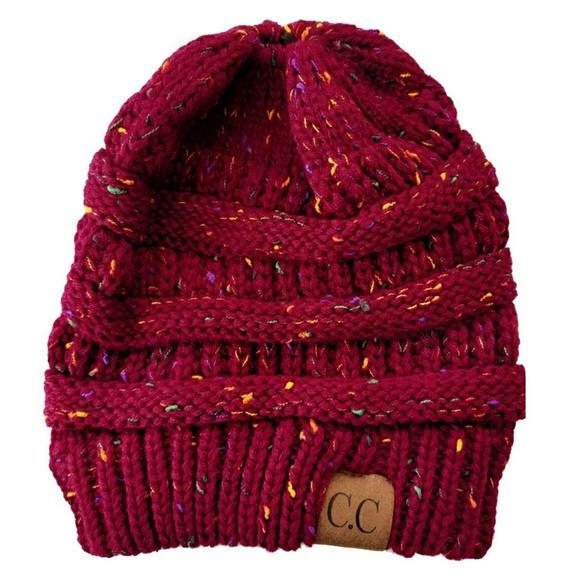 CC Beanie Confetti Red Messy Bun Ponytail Knit Hat b10557c6907c